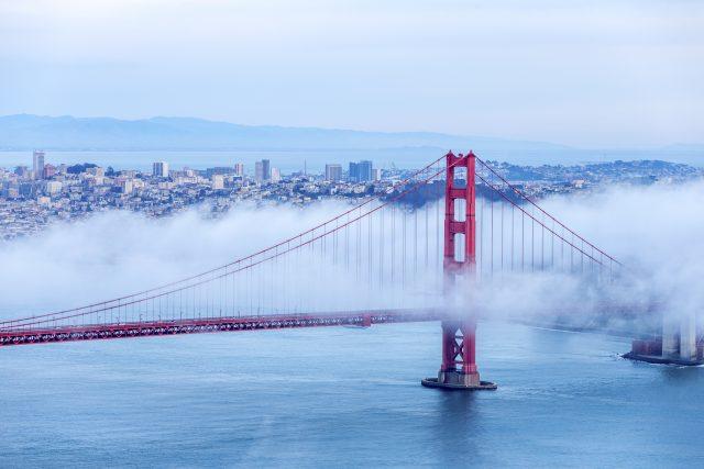 olden Gate Bridge with low fog, San Francisco