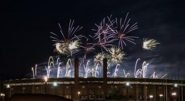 Berlin Pyronale Event Olympic Stadium Fireworks
