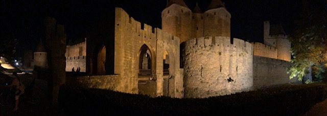L2F Oct 18 pic France hilltop towns Carcassone night
