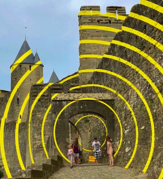 L2F Oct 18 pic France hilltop towns Carcassone stripes