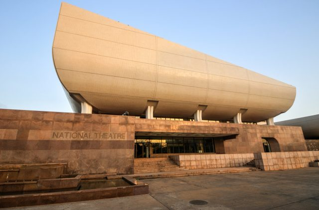 Accra, Ghana - April 29, 2012: The National Theatre, opened in 1992 and located in the Victoriaborg district of Accra, Ghana, was built by the Chinese and offered as a gift to Ghana.