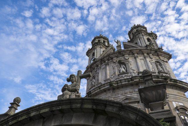 Main facade of La Virgen Peregrina church, a 18th century baroque temple in downtown Pontevedra, Galicia (northwestern Spain).