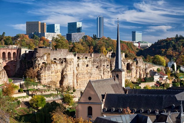 Luxembourg old town view in autumn.
