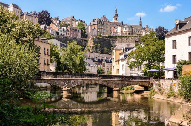 Luxembourg City, historic destrict Grund, bridge over Alzette river