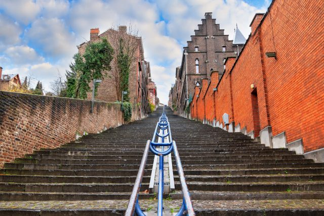 Beautiful cityscape of the 374-step long staircase Montagne de Bueren, a popular landmark and tourist attraction in Liege, Belgium