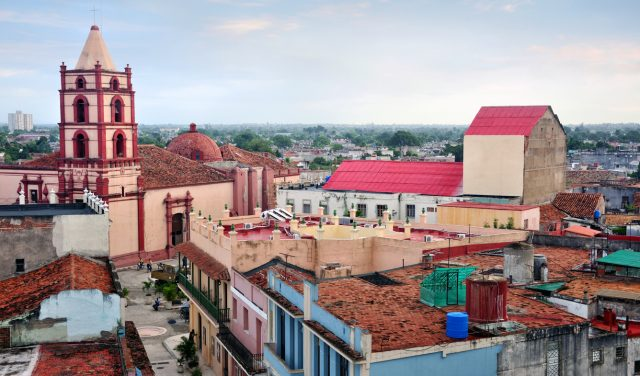 Camaguey cityscape with Iglesia De Soledad church on backgound, Cuba. The city is a UNESCO World Heritage Site