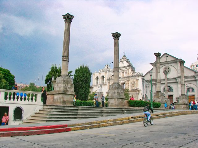 Guatemala, Quetzaltenango streets in historic city center
