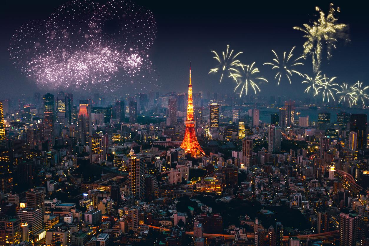Tokyo skyline on New Year's day