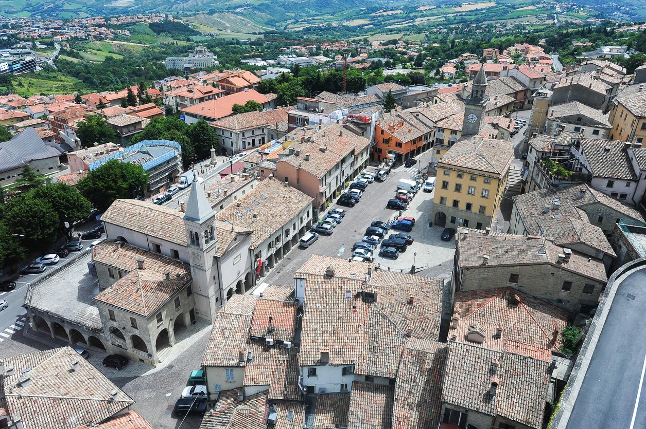 Piazza grande and church of the Suffrage on Borgo Maggiore, San Marino