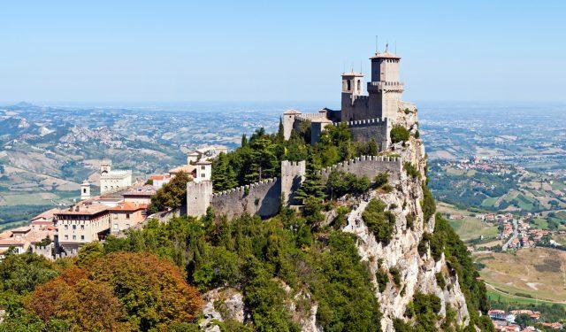 Scenic view of Guaita fortress on Monte Titano with San Marino city in background