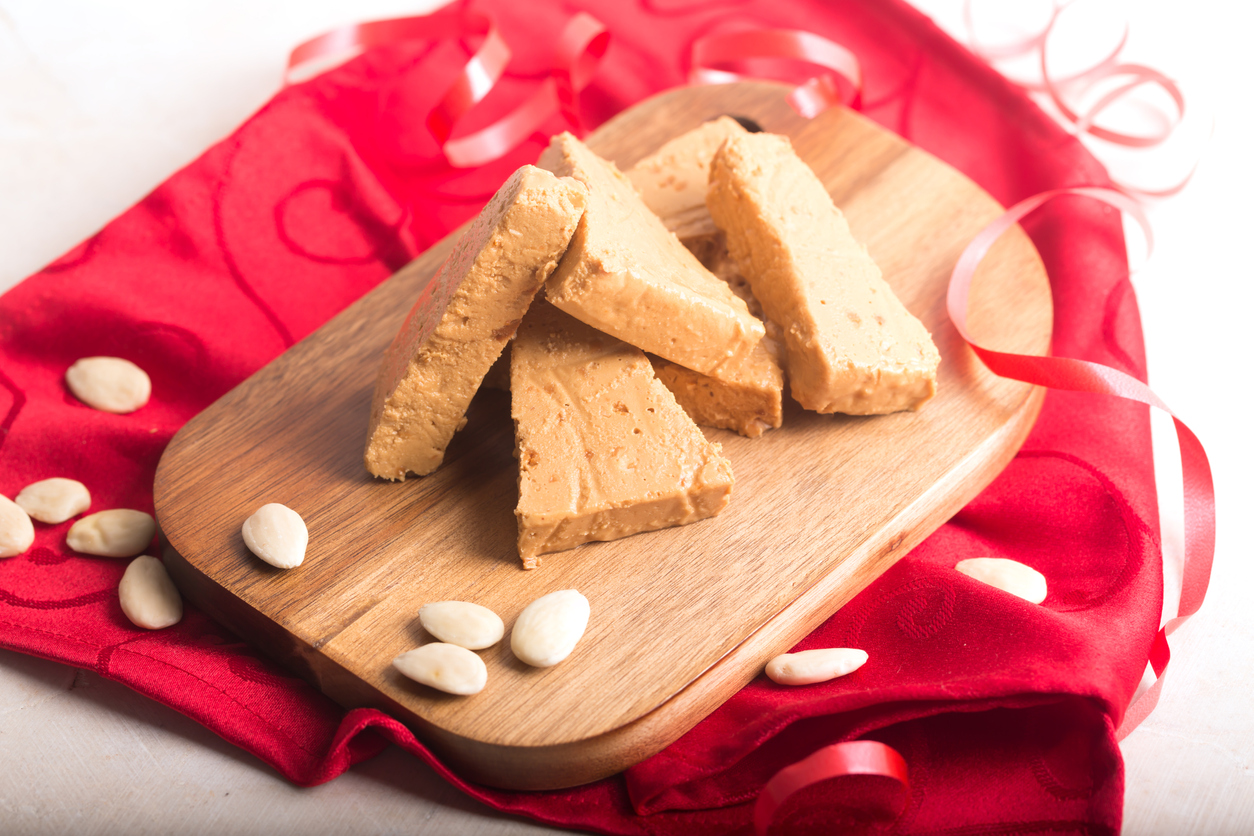 Turron is a typical Christmas food in Spain, usually prepared with almond nougat and fruits