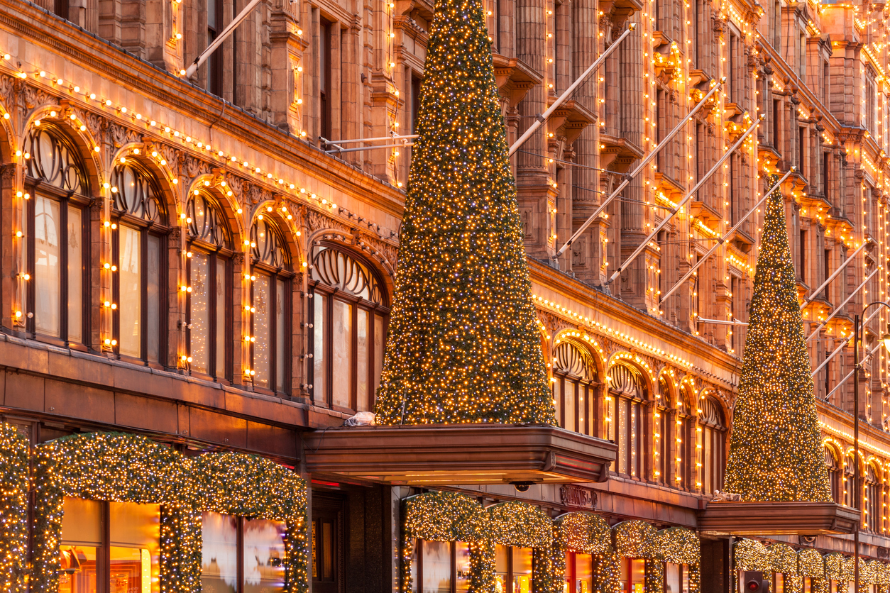 London, United Kingdom - November 01, 2013: The Harrods department stores facade in London's Knightsbridge with Christmas lights.