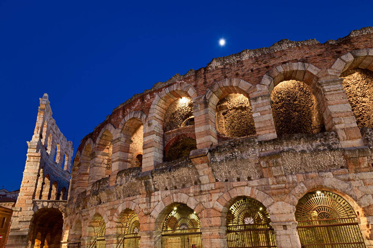 The Arena of Verona (Arena di Verona) is a Roman amphitheater in Verona, Italy, which is internationally famous for the large-scale opera performances given there. It is one of the best preserved ancient structures of its kind