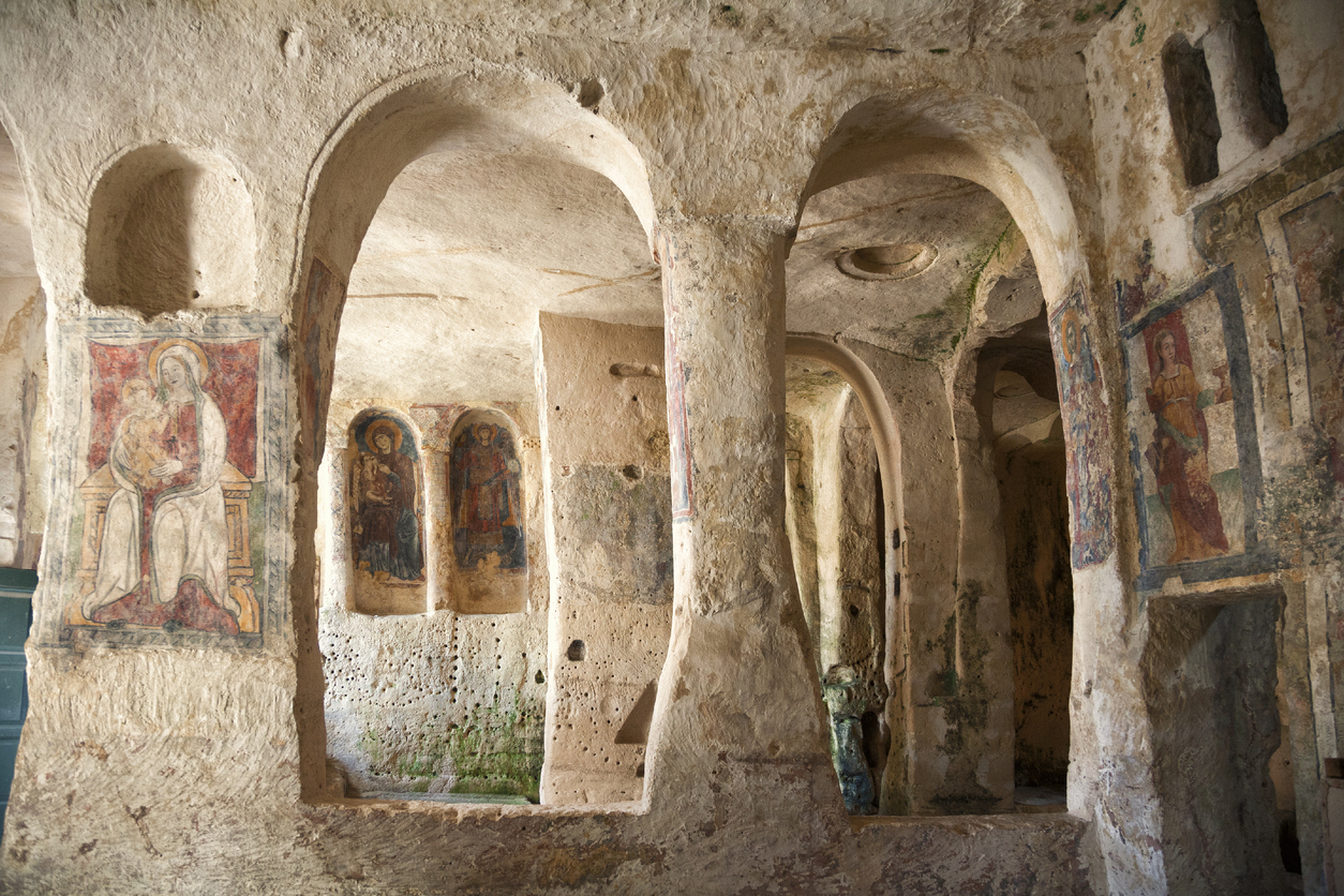 Fresco in a rock church in the ancient town of Matera in southern Italy.