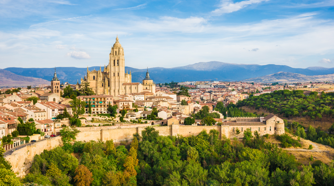 The view of Segovia cathedral from Segovia Alcazar.
