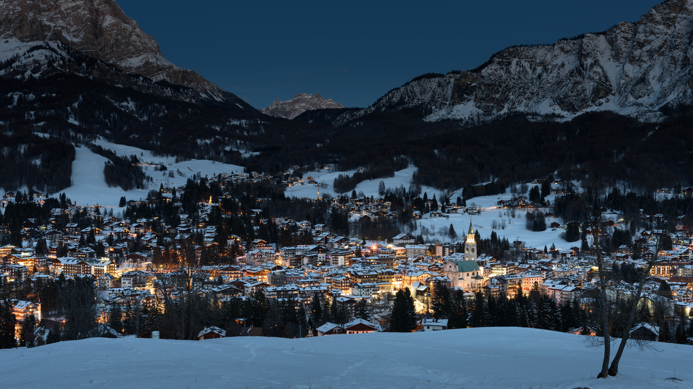 view of Cortina d'Ampezzo after sunset