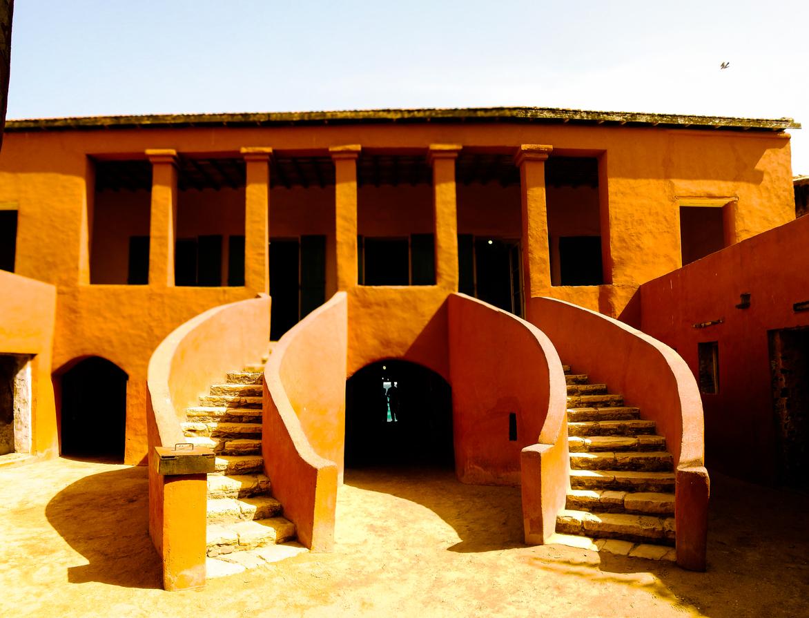 Exterior view to the Slave House at Goree island, Dakar, Senegal