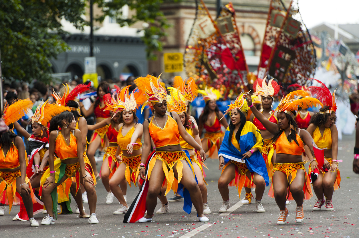 London, UK - August 27, 2012: Dancers performing at the Notting Hill Carnival in Notting Hill, West London on 27th August 2012.