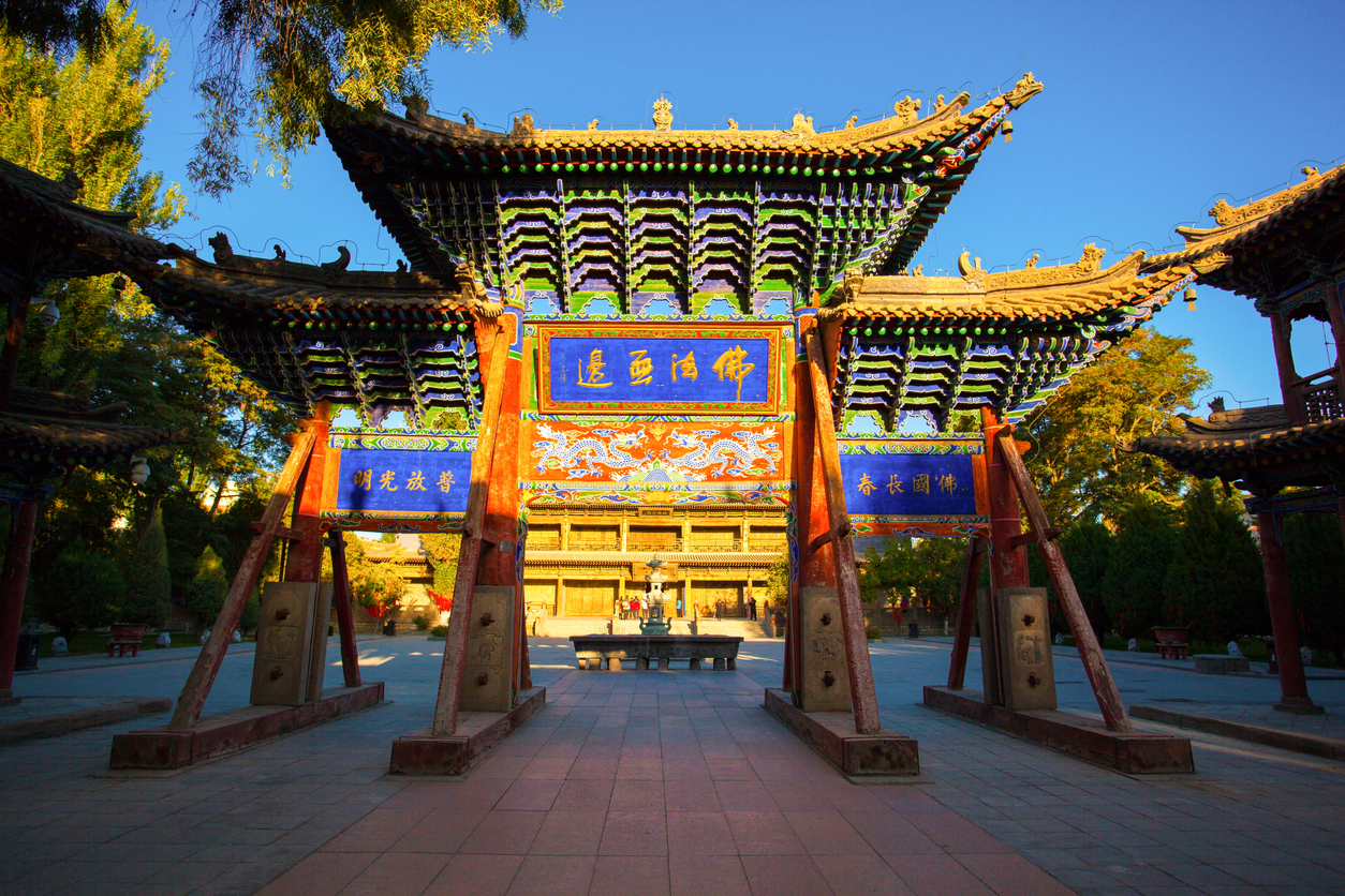 Great Buddha Temple in Zhangye. There is the largest clay sculptured sleeping Buddha with wood core in Asia at Temple.