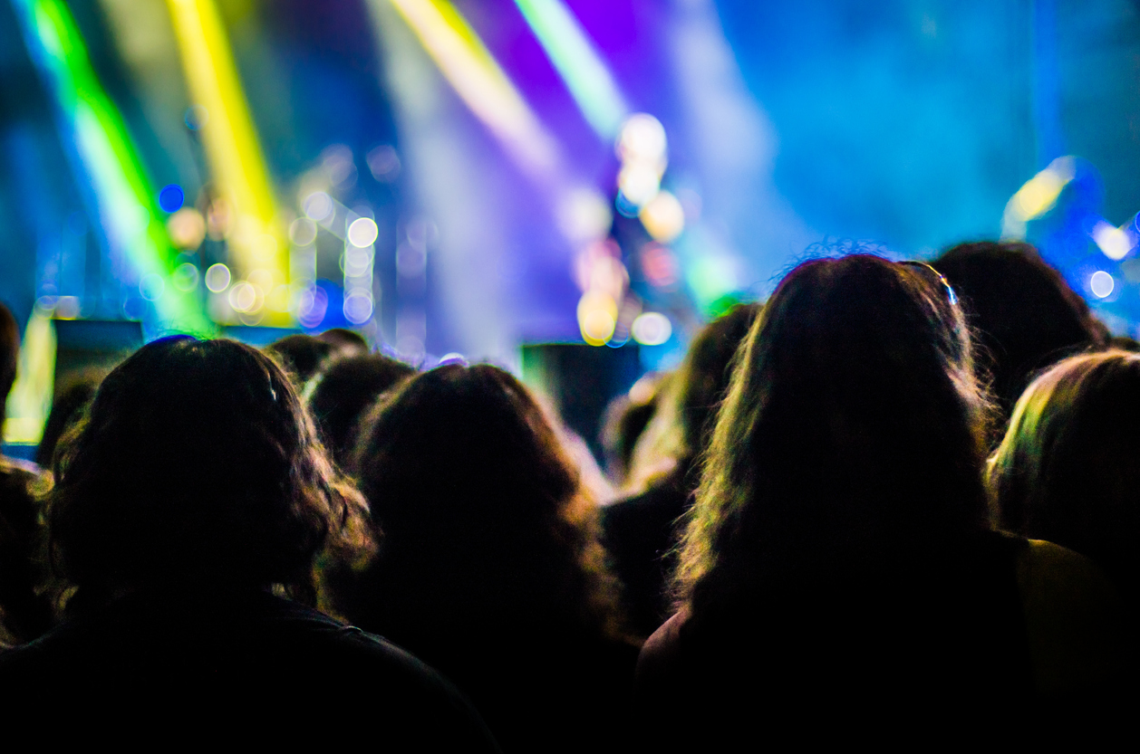 unrecognisable spectators in a concert