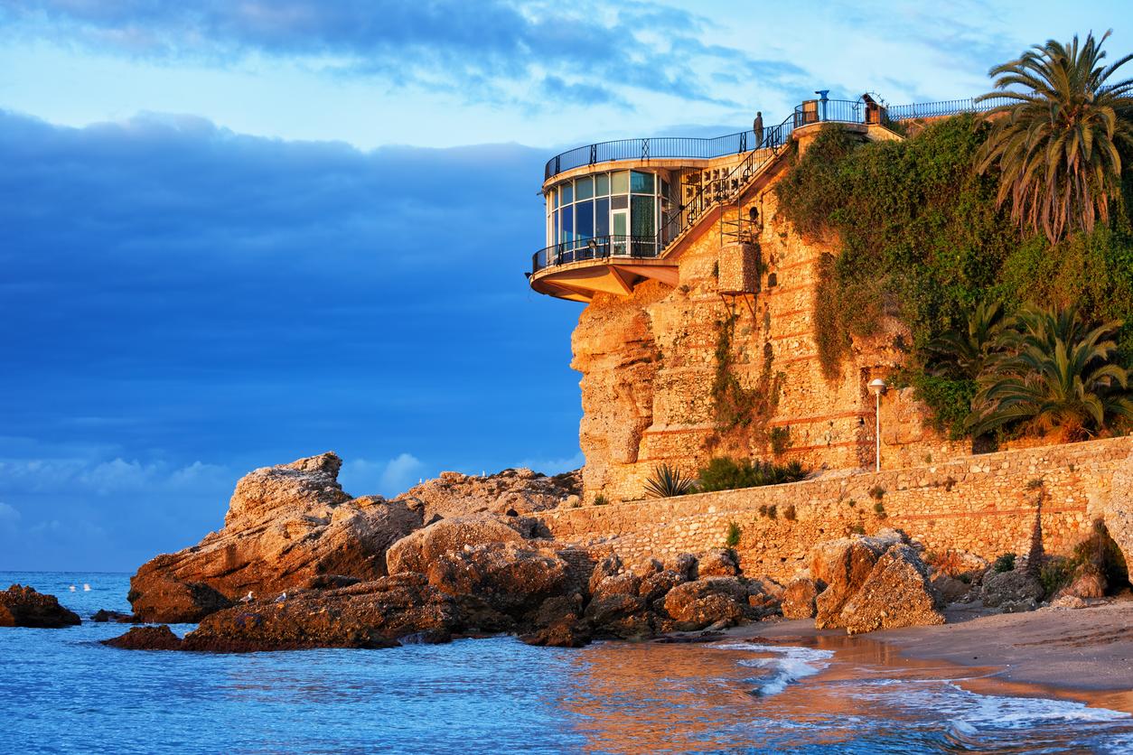 Spain, Nerja town on Costa del Sol, Balcon de Europa at sunrise, Mediterranean Sea coast, Andalusia region.