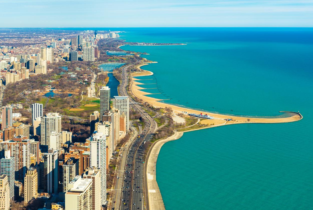 Aerial panorama of Chicago and Lake Michigan. North Avenue beach. Illinois, USA.