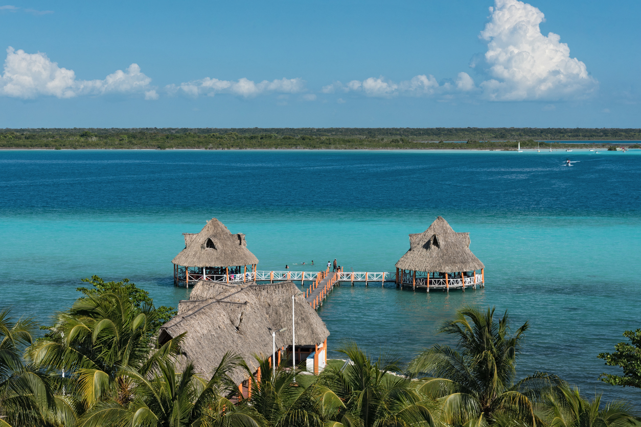 Panoramic view from the fort of San Felipe to Bacalar Lagoon.