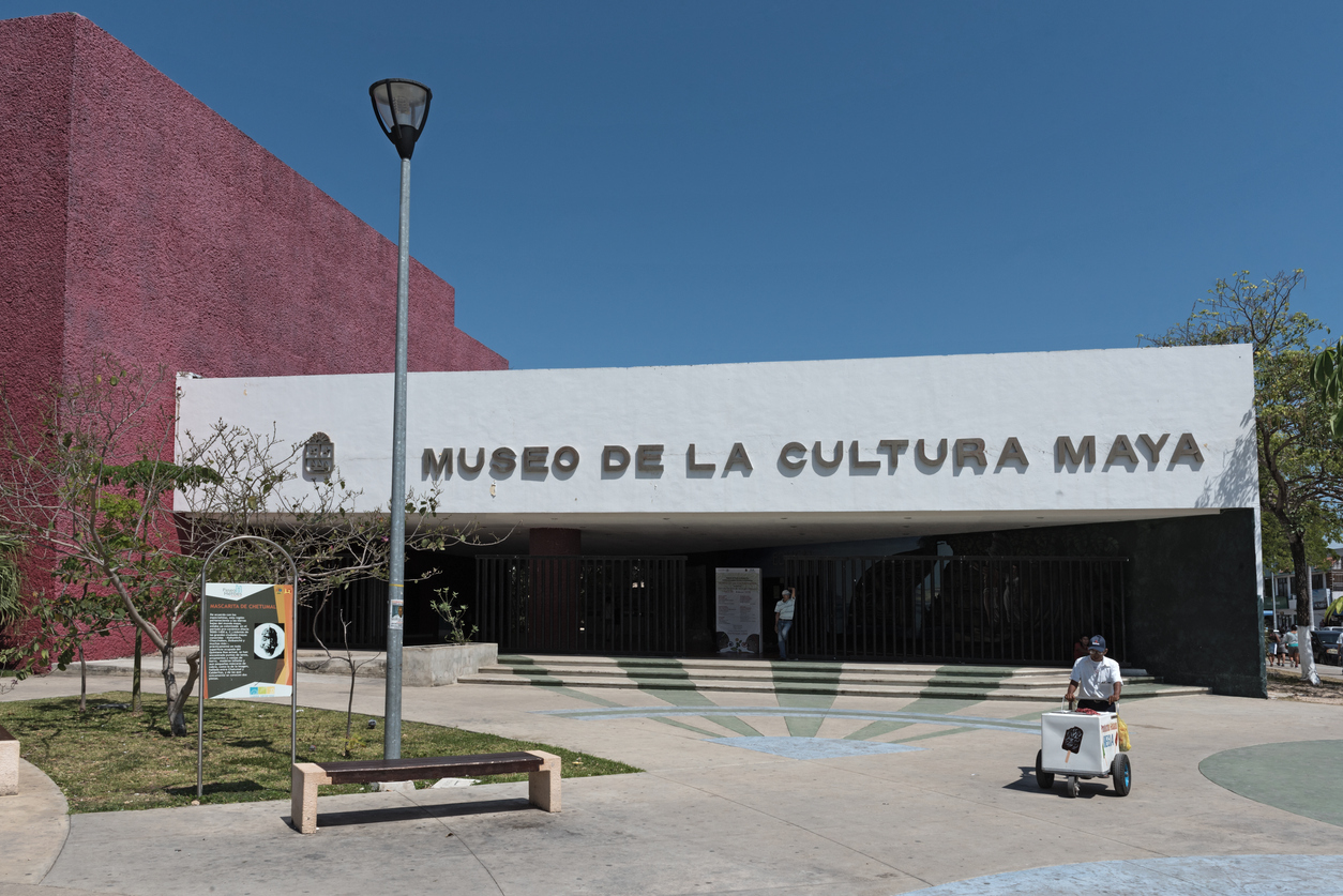 CHETUMAL, MEXICO-MARCH 09, 2018: Museum of the Mayan Culture in the city of Chetumal, Mexico