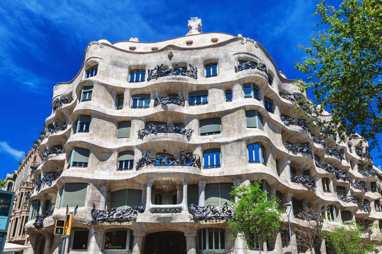 Barcelona, Spain - April 18, 2016: Facade of Casa Mila (La Pedrera) by Antoni Gaudi in prospect Diagonal, Barcelona, Spain.