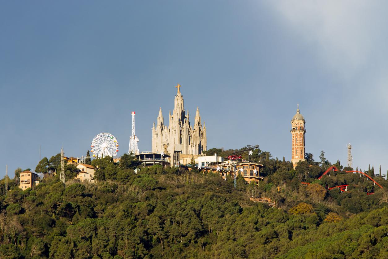 Mount Tibidabo with the church Sagrat Cor in Barcelona