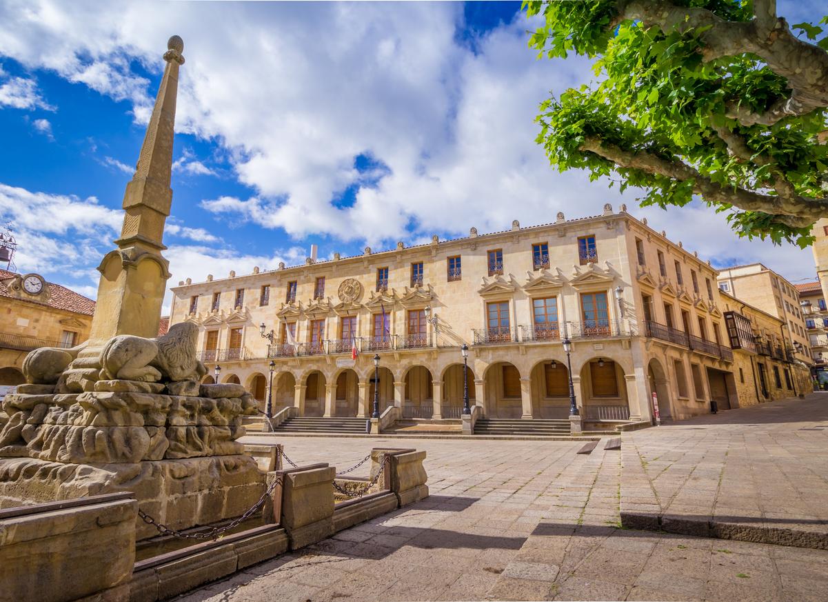 The City hall of the city of Soria, Castilla y Leon, Spain. The Palacio de los Linajes is located in the main square (Plaza Mayor) of the city.