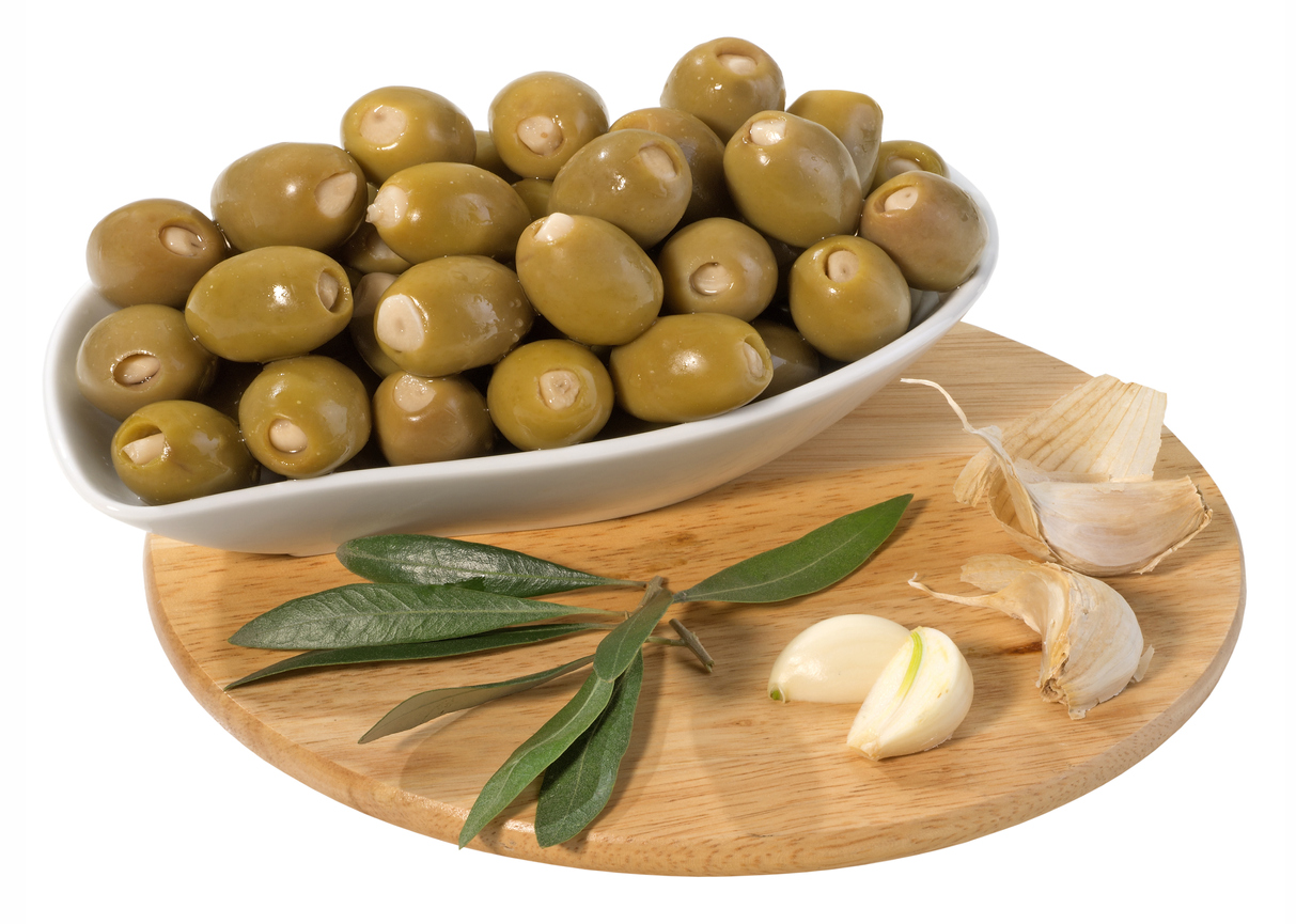 Pickled garlic-stuffed olives.