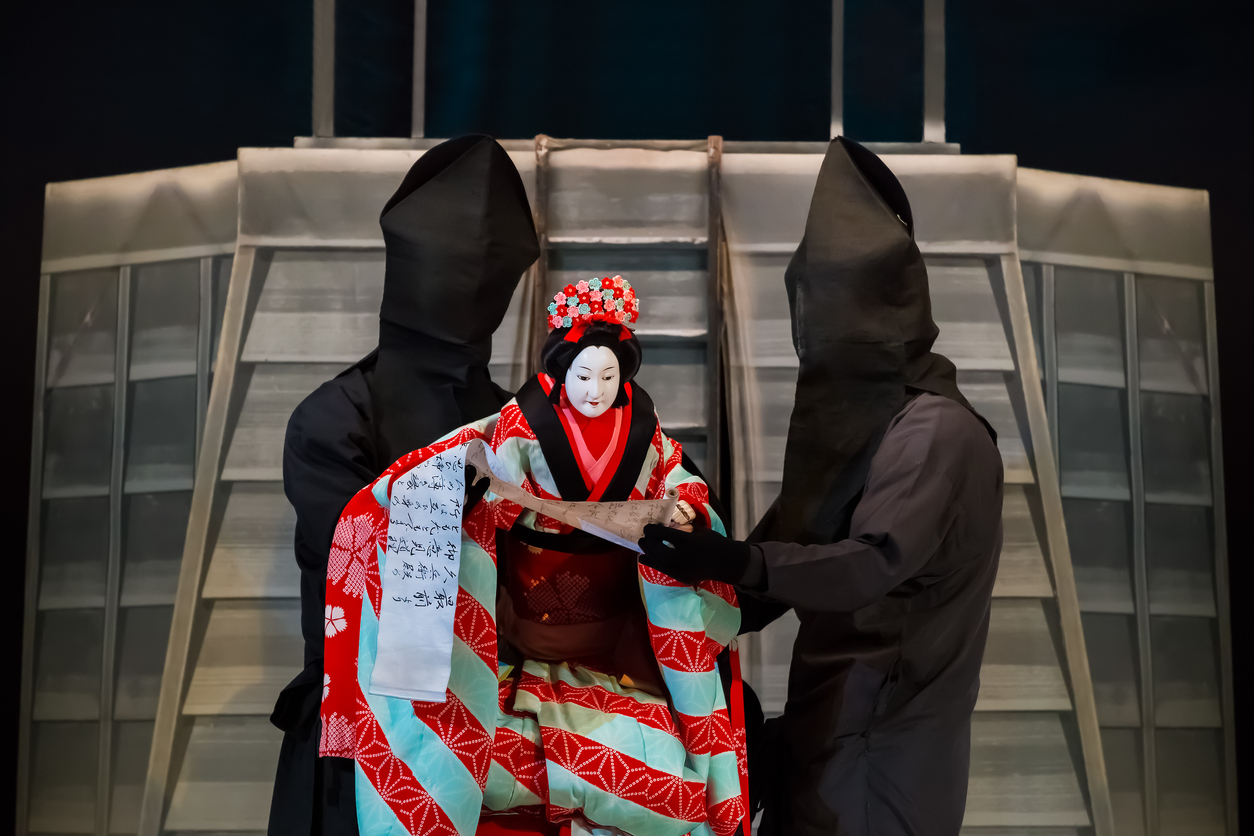 Kyoto, Japan - November 18 2013: Bunraku (puppet play) developed over twelve centuries as a poppular entertainment of Japanese