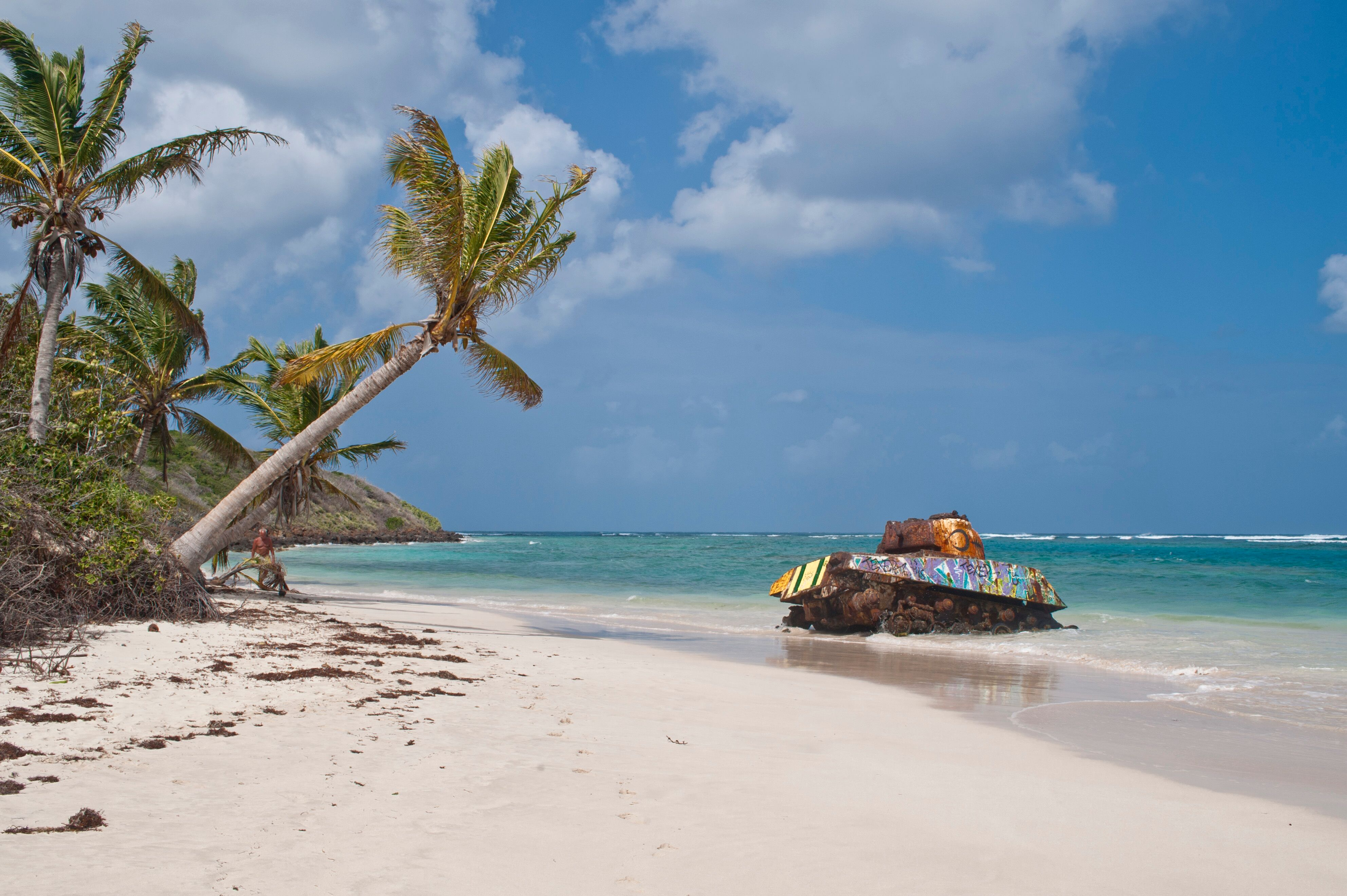 L2F May 19 pic Puerto Rico dining travel book Vieques beach with tank