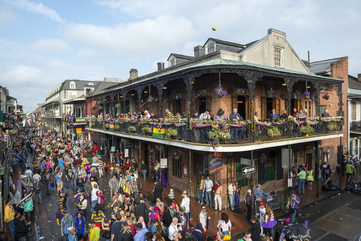 Crowds in the French Quarter during Mardi Gras 2013 in New Orleans, Louisiana