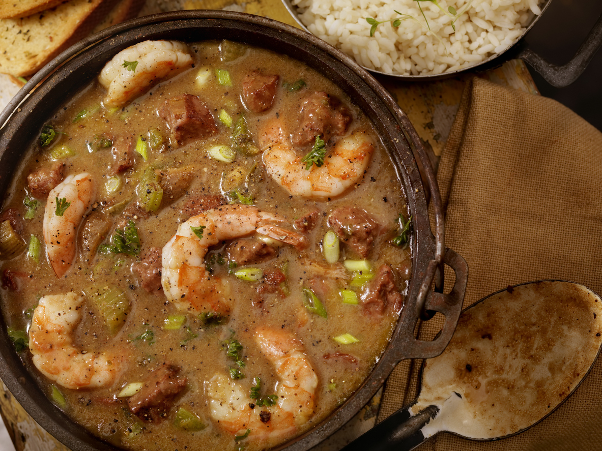 Creole Style Shrimp and Sausage Gumbo in a cast iron pot with White Rice and French Bread- Photographed on Hasselblad H3D2-39mb Camera