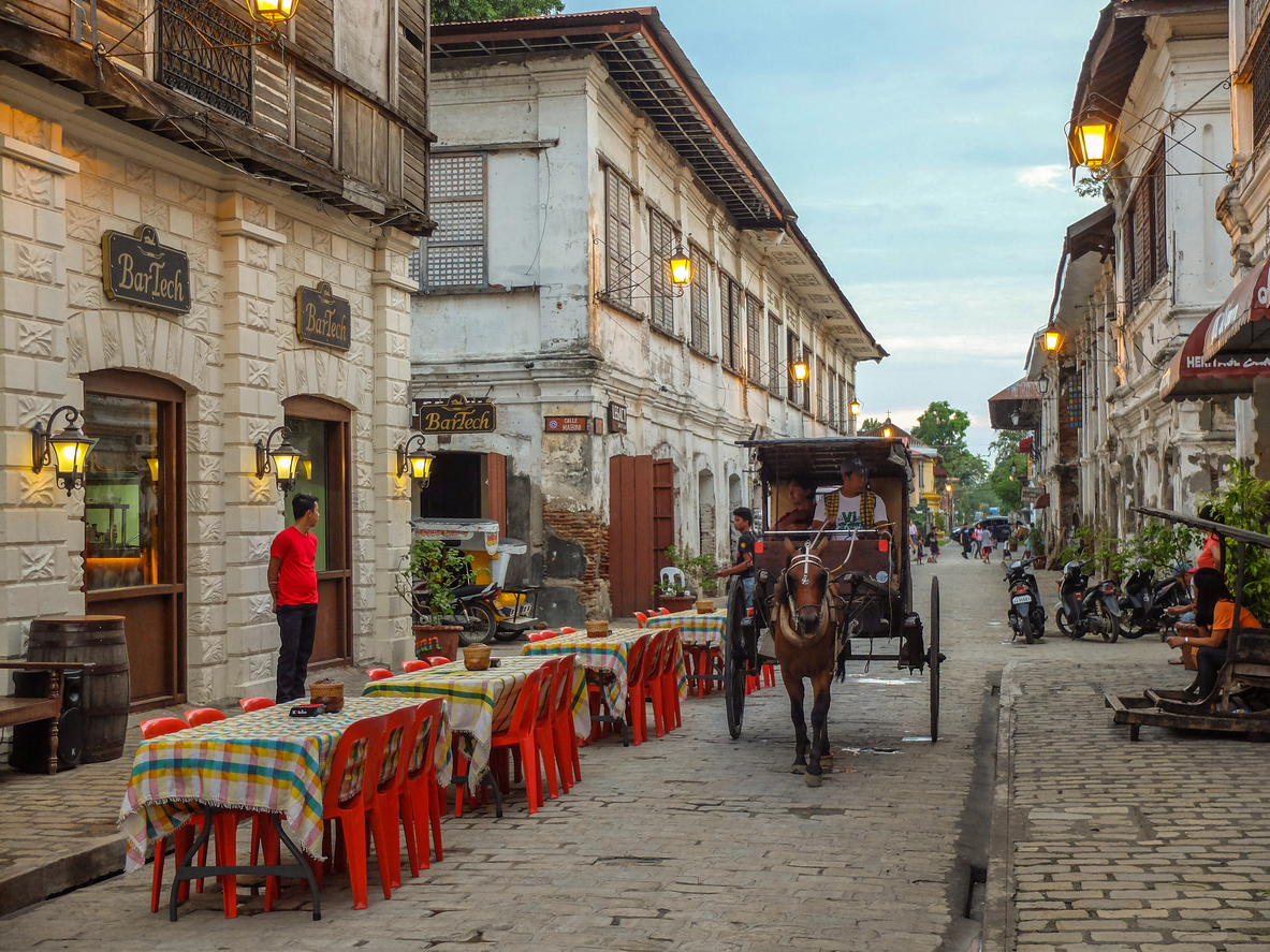 Vigan, Philippines - July 24, 2015 : A restaurant in Historic Town of Vigan. Vigan is a UNESCO World Heritage Site in that it is one of the few Spanish colonial town