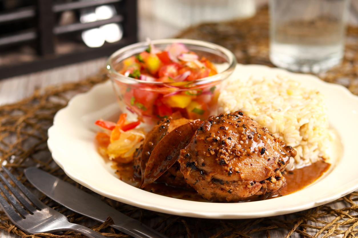 Delicious Chicken Adobo on the table. Filipino cuisine.