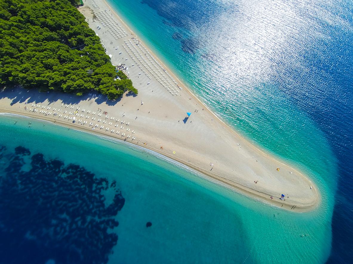 Famous beach Zlatni rat (Golden Horn or Golden Cape), Bol, Brac island, Dalmatia, Croatia, Europe.