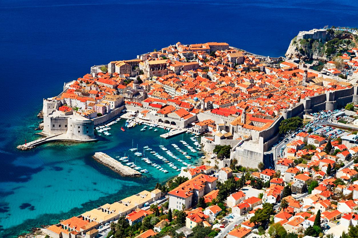 Aerial view of Old Town Dubrovnik, Croatia