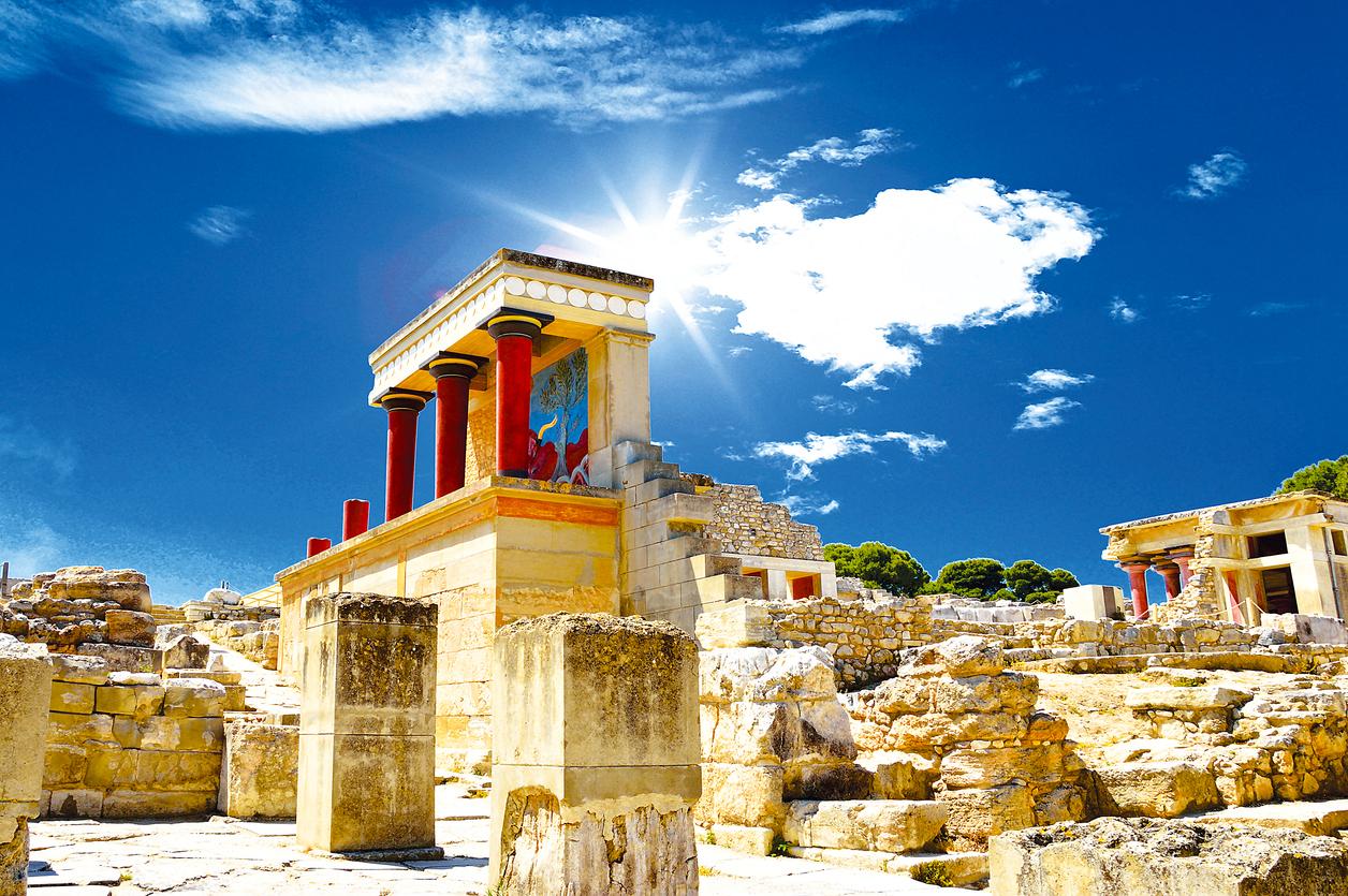 Crete, Greece - April 27, 2013 : Knossos palace of the Minoan civilization and culture at Heraklion, Crete, Greece