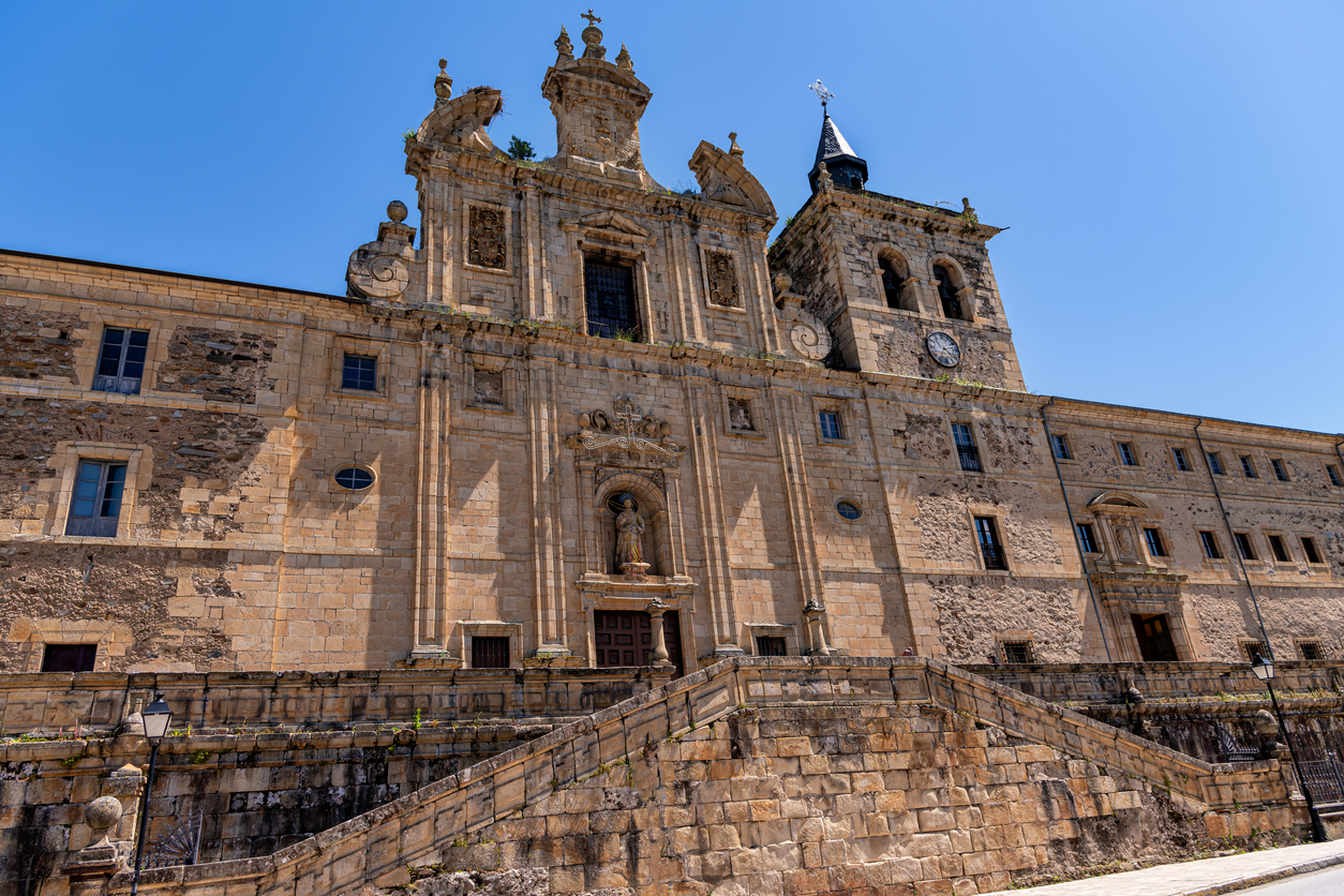 View of historic monastery in Villafranca del Bierzo, Spain, now housing a museum and a pilgrims lodging house.