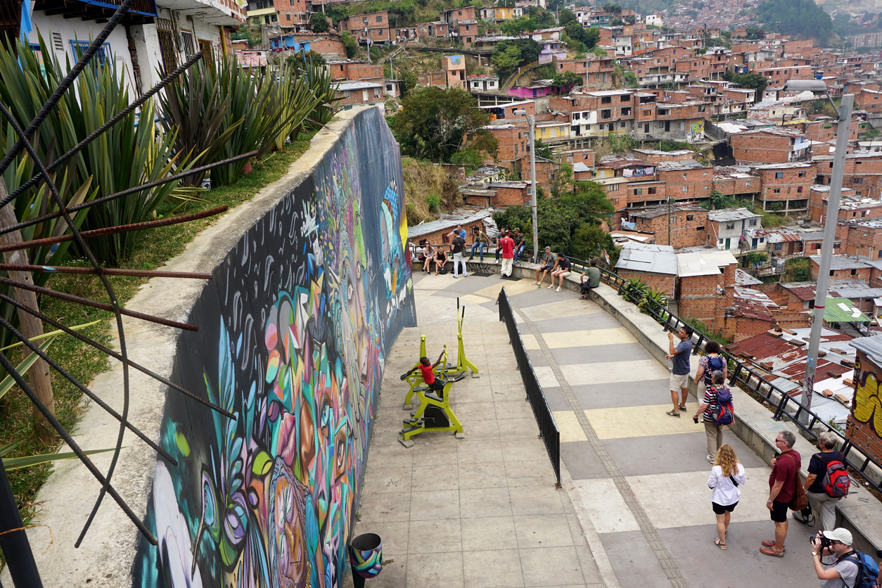 Medellín, Antioquia Province, Colombia, February 27, 2019. View from Comuna 13