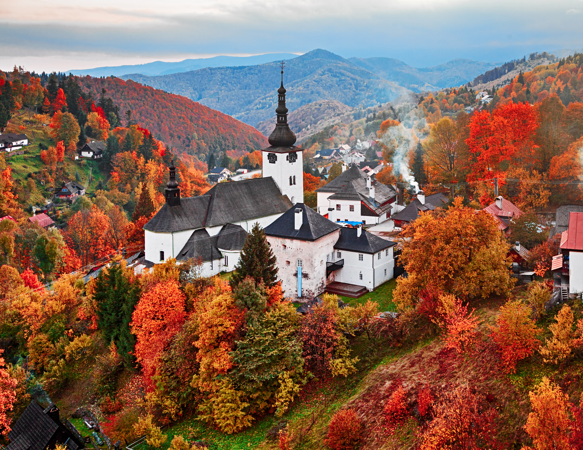 Autumn view of monastery in Spania Dolina, Slovakia