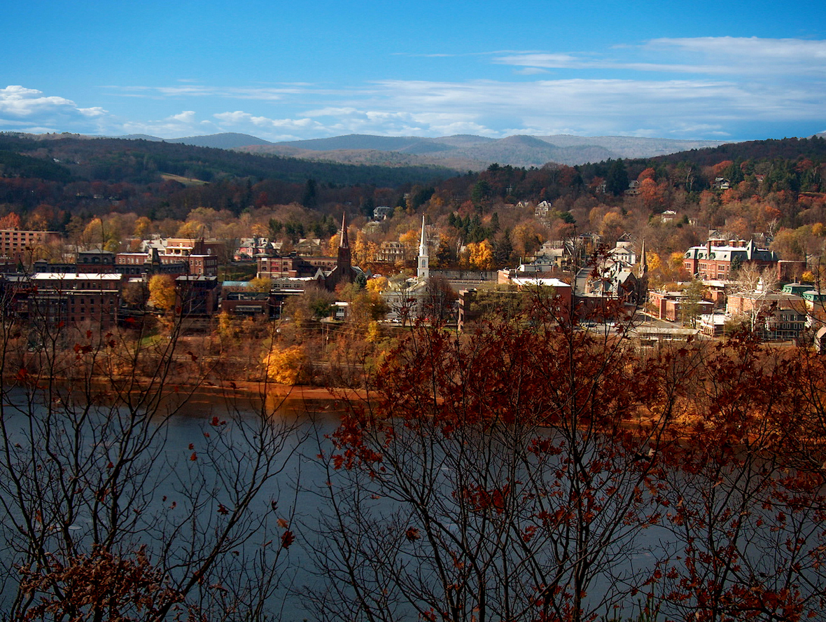A view of Brattleboro, Vermont and the Connecticut River