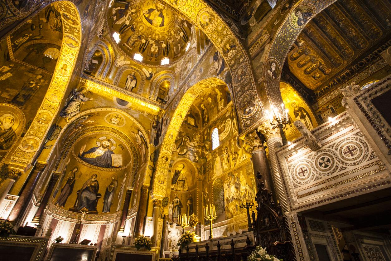 Interior of the Capella Palatina chapel - Palazzo dei Normanni in Palermo - Sicily - Italy