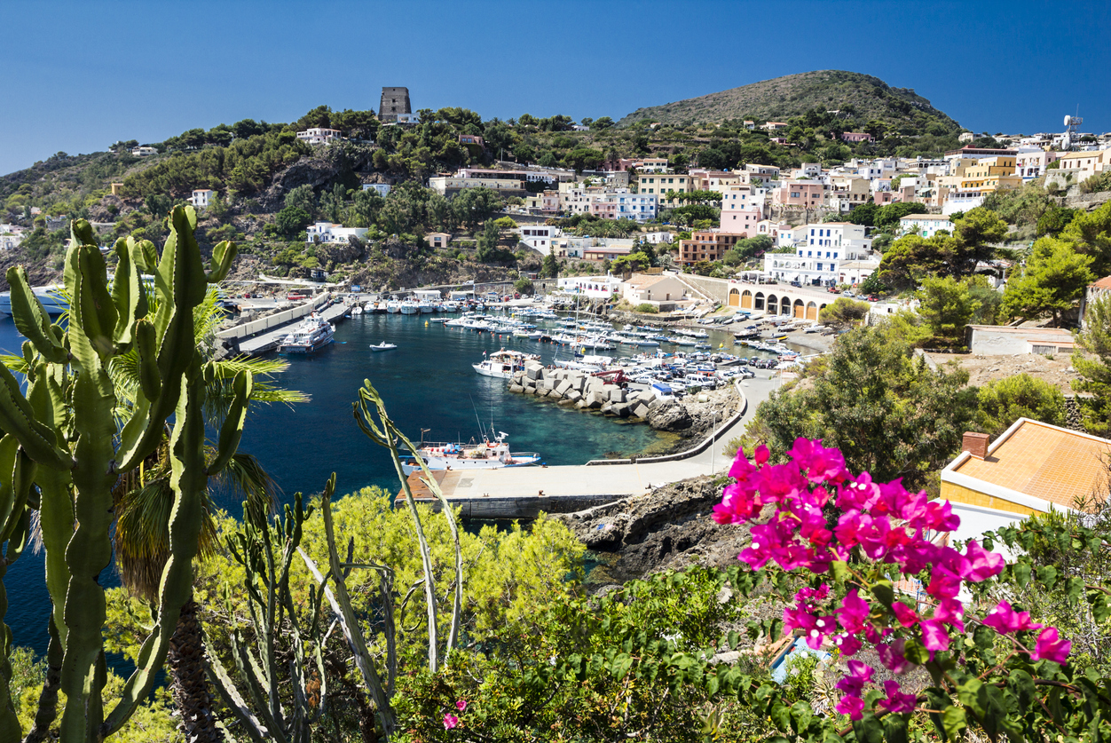 Port of Ustica Island at Tyrrhenian Sea located near Palermo, Sicily, Italy a well known SCUBA location
