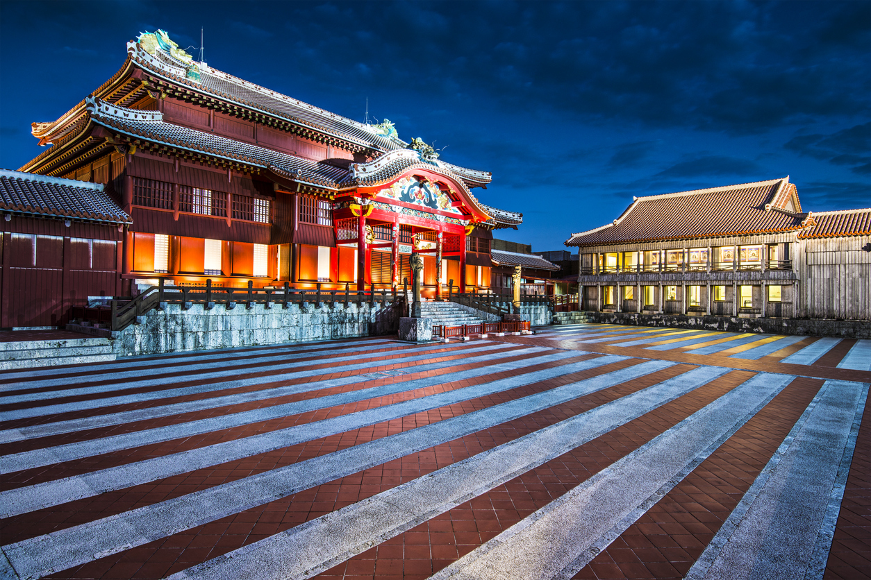 Naha, Japan - November 12, 2012: Shuri Castle illuminated at night. It was the palace of the Ryukyu Kingdom.