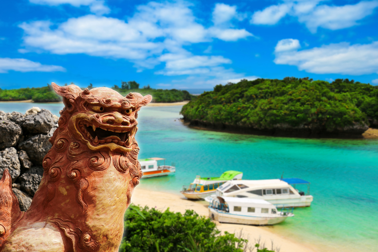 Okinawa Shisa and the beautiful sea