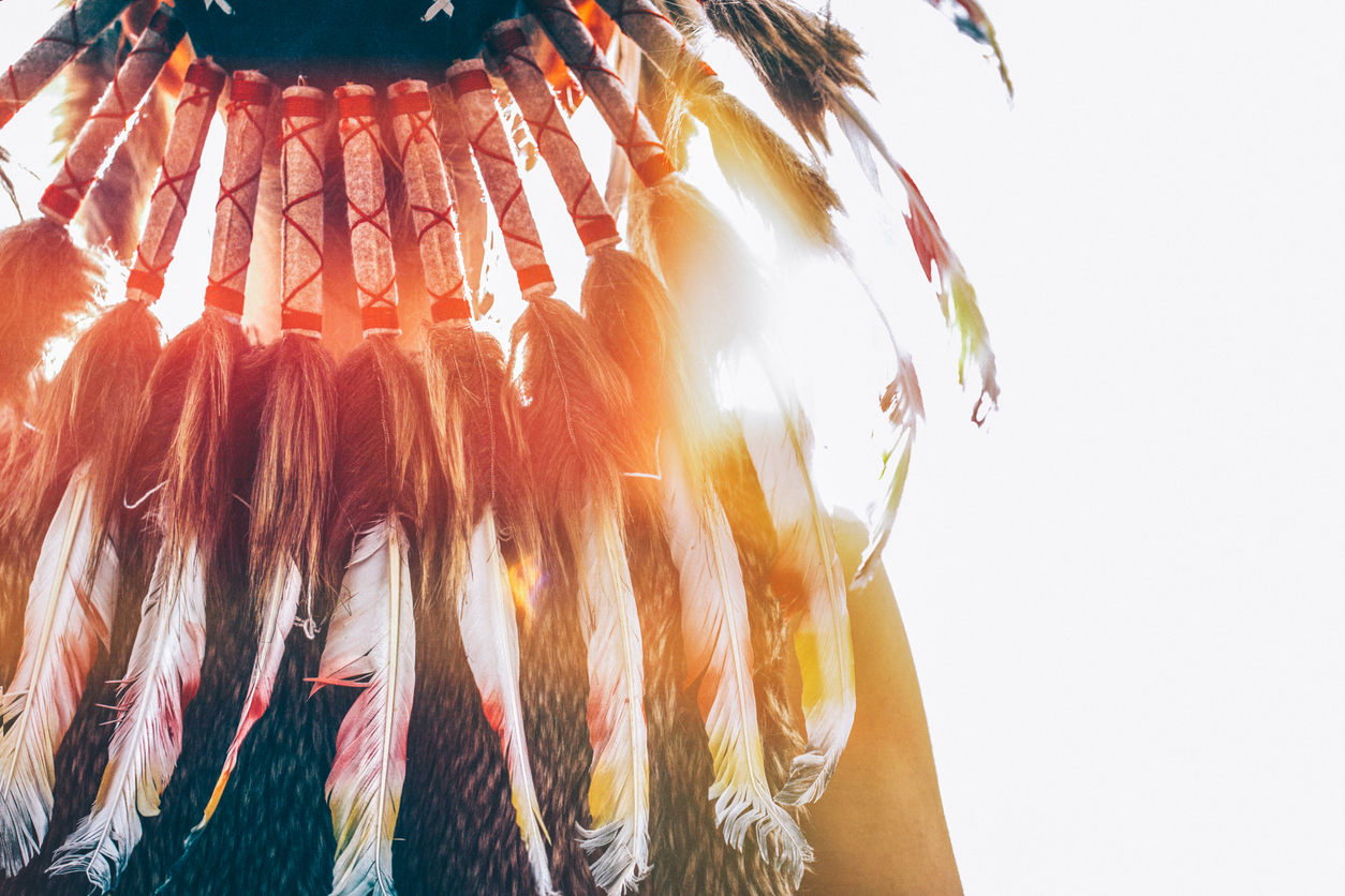 Native American headdress from behind